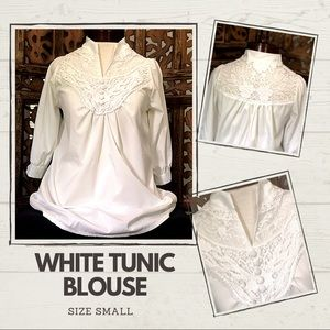 White Tunic Blouse with Lace